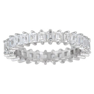 Decadence Sterling Silver Cubic Zirconia Baguette Cut Micro Pave Eternity Ring - White