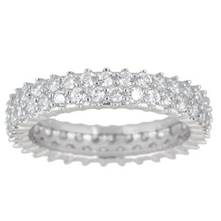 Decadence Sterling Silver Cubic Zirconia 2-strand Micro Pave Eternity Ring