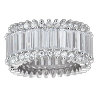 Decadence Sterling Silver Cubic Zirconia Round and Baquette Cut Micro Pave Eternity Ring