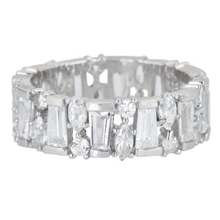 Decadence Sterling Silver Cubic Zirconia Baguette and Marquis Cut Micro Pave Eternity Ring