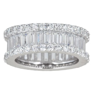 Decadence Sterling Silver Cubic Zirconia Round and Baguette Cut Micro Pave Eternity Ring
