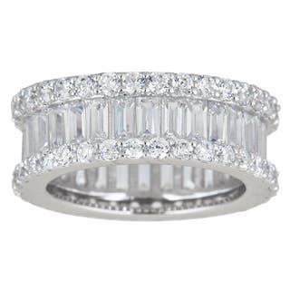 Decadence Sterling Silver Cubic Zirconia Round and Baguette Cut Micro Pave Eternity Ring|https://ak1.ostkcdn.com/images/products/9941444/P17096549.jpg?impolicy=medium