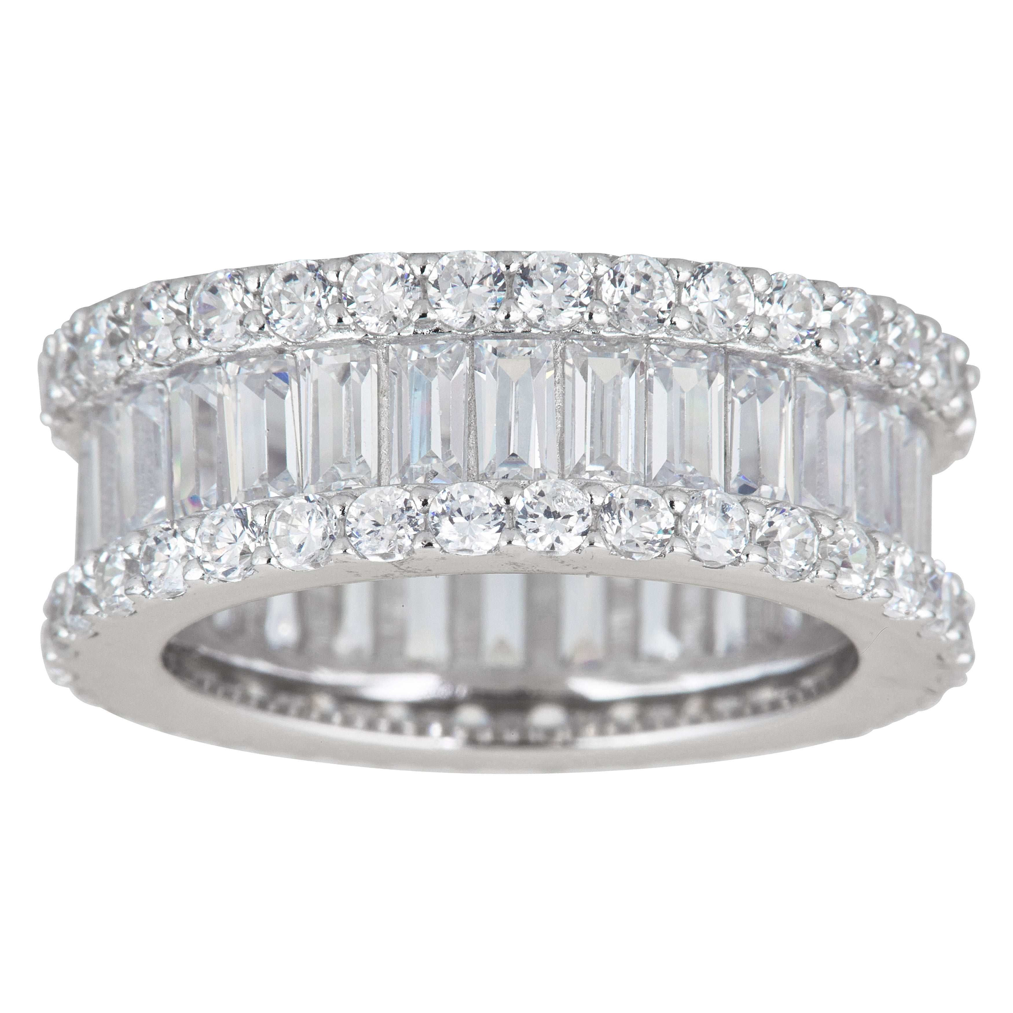 Sterling Silver Cubic Zirconia Round /& Baguette Eternity Ring