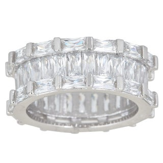 Decadence Sterling Silver Cubic Zirconia Baguette Cut Micro Pave Eternity Ring
