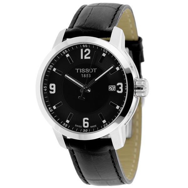 c46965bf84b Shop Tissot Men s T0554101605700 PRC 200 Round Black Leather Strap Watch -  Free Shipping Today - Overstock - 9941447