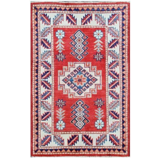Herat Oriental Afghan Hand-knotted Tribal Super Kazak Wool Rug (2'2 x 3'3)