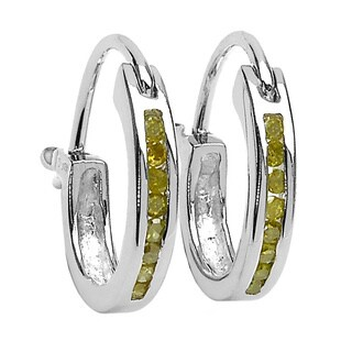 Malaika Sterling Silver .14ct TDW Yellow Diamond Hoop Earrings (Yellow, I2-I3)