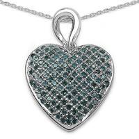 Malaika Sterling Silver .08ct TDW Blue Diamond Mother/ Baby Pendant
