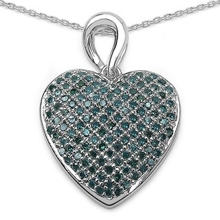 Malaika Sterling Silver .08ct TDW Blue Diamond Mother/ Baby Pendant