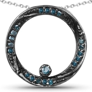 Malaika Sterling Silver .23ct TDW Blue Diamond Circle Necklace (Blue, I2-I3)