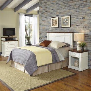 Home Styles Americana White and Oak Headboard, Night Stand, and Media Chest