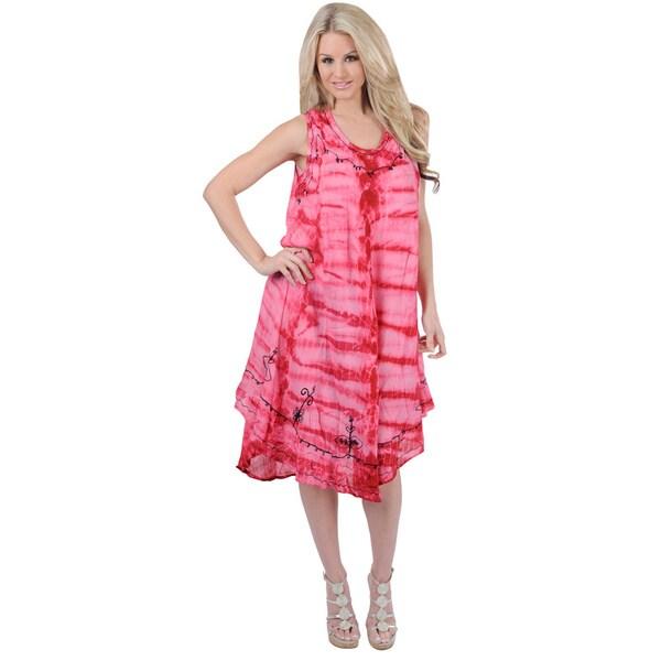 34cfc8660e84 La Leela RAYON HAND Tie Dye Embroidered Designer Casual TUNIC Beach Dress  Pink