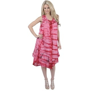 La Leela RAYON HAND Tie Dye Embroidered Designer Casual TUNIC Beach Dress Pink