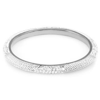 Sterling Silver Plated White Beads and Clear Crystals Bangle