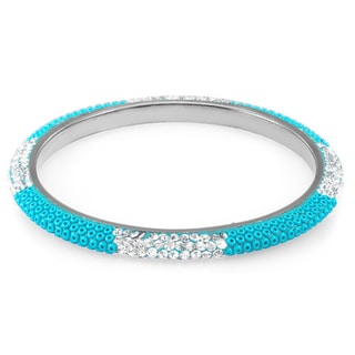 Sterling Silver Plated Turquoise Beads and Clear Crystals Bangle