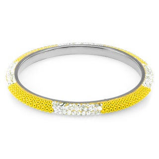 Sterling Silver Plated Yellow Beads and Clear Crystals Bangle