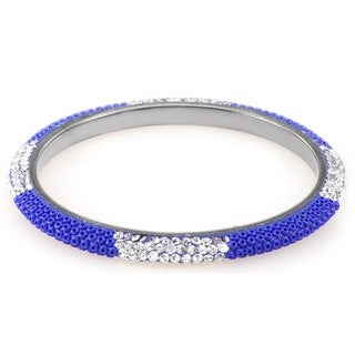 Sterling Silver Plated Royal Blue Beads and Clear Crystals Bangle