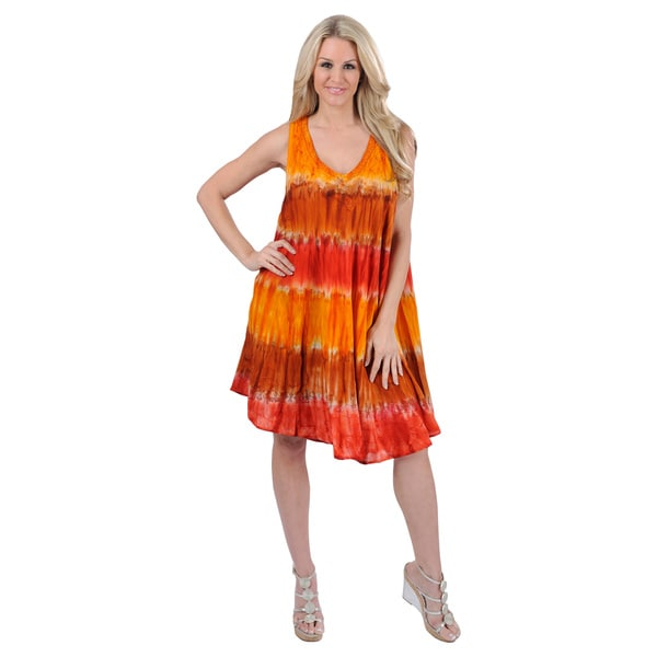 La Leela RAYON HAND Tie Dye Embroidery Designer Casual Short Beach Dress Sunrise