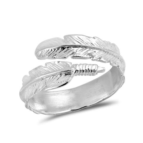 Handmade Nature's Embrace Feather Wrap Sterling Silver Ring (Thailand)