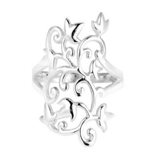 Handmade Mystical Charisma Filigree Vines Leaf .925 Sterling Silver Ring (Thailand)