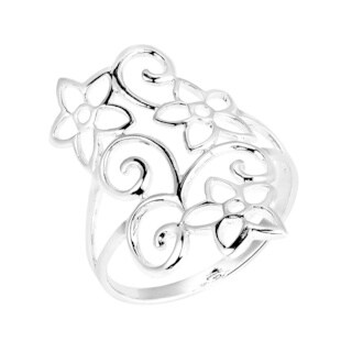 Handmade Swirling Jasmine Flower Garden .925 Sterling Silver Ring (Thailand)