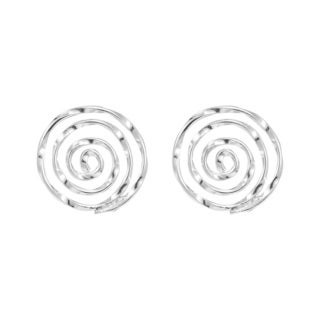 Handmade Mesmerizing Swirls Round Sterling Silver Stud Earrings (Thailand)