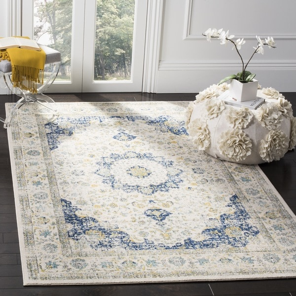 Blue Outdoor Rug 9x12: Safavieh Evoke Vintage Oriental Ivory / Blue Distressed