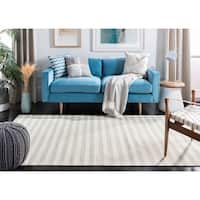 Safavieh Hand-Woven Dhurries Light Blue/ Ivory Wool Rug - 6' x 9'