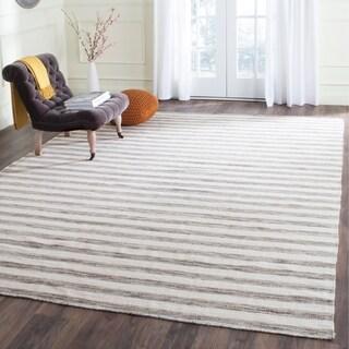 Safavieh Hand-Woven Dhurries Brown/ Ivory Wool Rug (6' x 9')