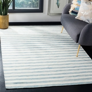Safavieh Hand-Woven Dhurries Aqua/ Ivory Wool Rug (6' x 9')