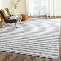 Safavieh Hand-Woven Dhurries Blue/ Ivory Wool Rug - 6' x 9'