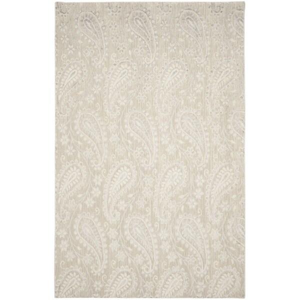 Safavieh Handmade Mirage Paisley Grey Wool/ Viscose Rug (6' x 9')