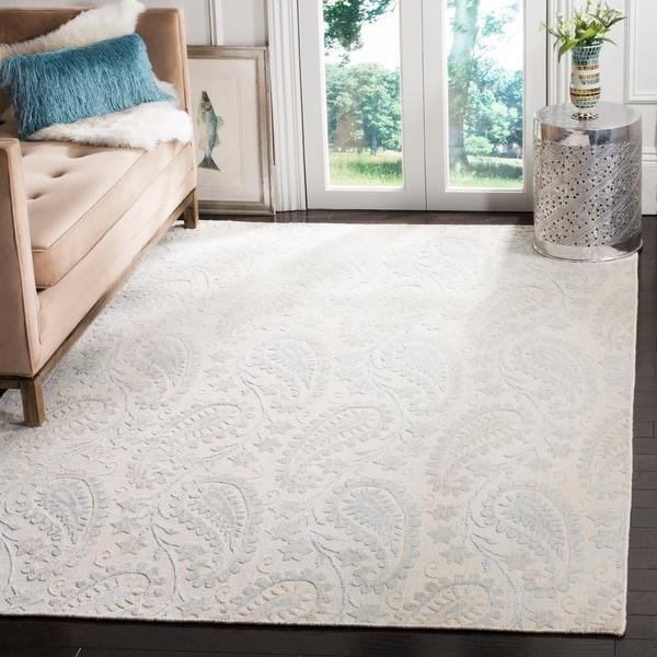 Safavieh Handmade Mirage Paisley Grey Wool/ Viscose Rug - 6' x 9'