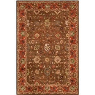 Safavieh Handmade Heritage Timeless Traditional Moss/ Rust Wool Rug (6' x 9')