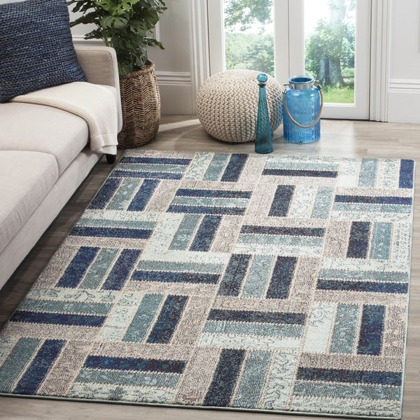 Safavieh Monaco Geometric Grey Blue Rug 9 X 12