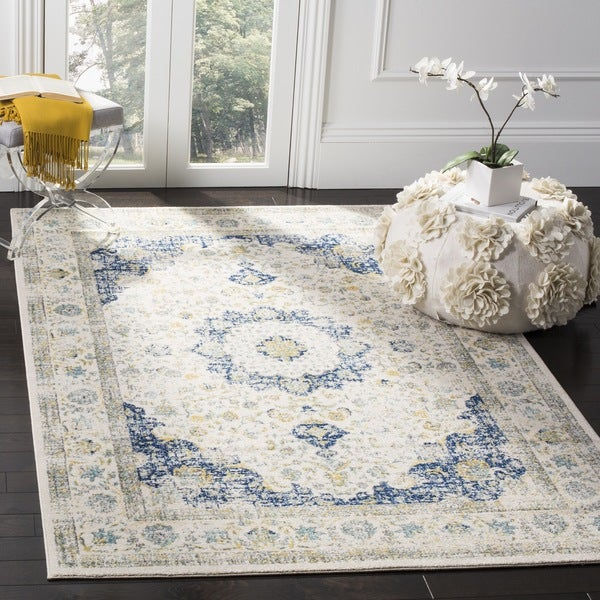 Safavieh evoke vintage oriental ivory blue distressed for Blue and white oriental rug