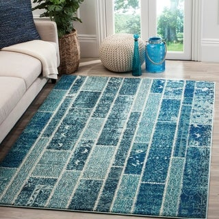 Safavieh Monaco Patchwork Blue/ Multicolored Rug (6'7 x 9'2)