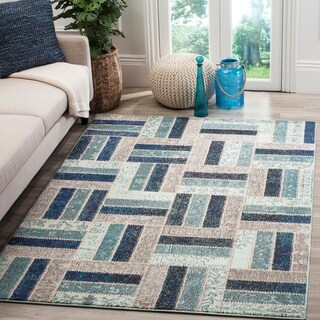 Safavieh Monaco Geometric Grey / Blue Rug (6'7 x 9'2)