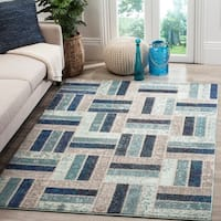 "Safavieh Monaco Geometric Grey / Blue Rug - 6'7"" x 9'2"""