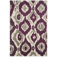 Safavieh Porcello Abstract Ogee Ivory/ Purple Rug - 6' x 9'