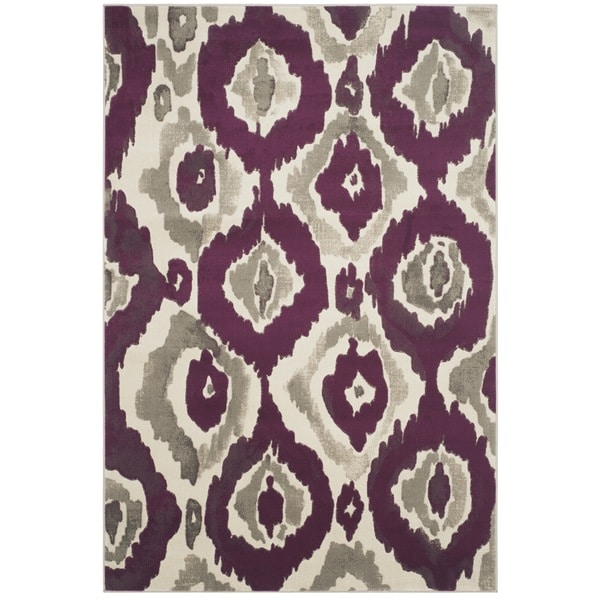 Safavieh Porcello Abstract Ogee Ivory/ Purple Rug (6' x 9')
