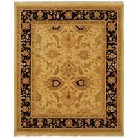 Safavieh Hand-Woven Sumak Light Gold/ Black Wool Rug - 9' x 12'