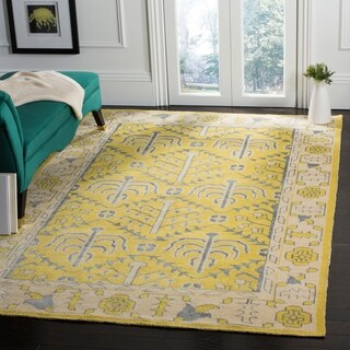 Safavieh Hand-Knotted Stone Wash Yellow Wool Rug (9' x 12')