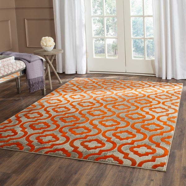 Safavieh Porcello Contemporary Moroccan Light Grey/ Orange Rug (6' x 9')