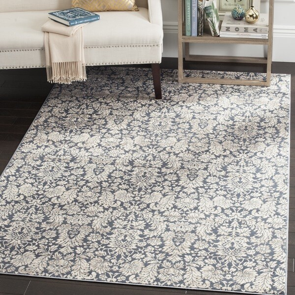 Safavieh Vintage Damask Navy Cream Distressed Rug 9 X