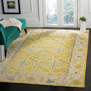 Safavieh Hand-Knotted Stone Wash Yellow Wool Rug (6' x 9')