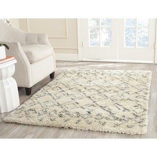 Safavieh Hand-Tufted Casablanca Shag White/ Grey N.Z. Wool Rug (10' x 14')