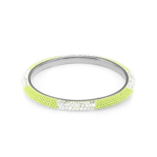 Sterling Silverplated Peridot Bead Clear Crystal Bangle