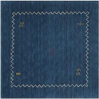 Safavieh Handmade Himalaya Blue Wool Gabbeh Area Rug - 8' Square