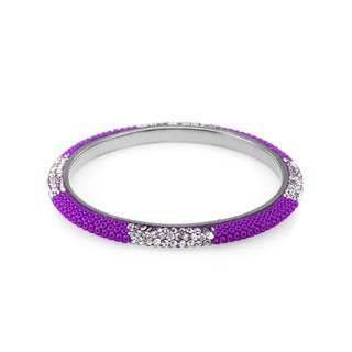 Sterling Silverplated Dark Purple Bead Clear Crystal Bangle